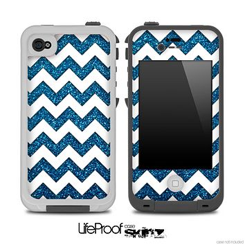 Blue Sparkly Print and White Chevron Pattern for the iPhone 5 or 4/4s LifeProof Case