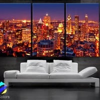 "LARGE 30""x 60"" 3Panels Art Canvas Print Montreal Canada City skyline night Wall Home decor (framed 1.5"" depth)"