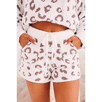 Roar Within Fuzzy Leopard Shorts (Ivory/Taupe)