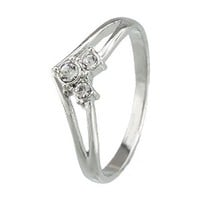 FM42 Silver-tone Classic 3-stone Clear Crystal Crown Style Ring R195