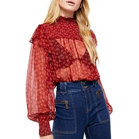 Free People Womens Red Tie Sheer Printed Long Sleeve Crew Neck Top Size Small