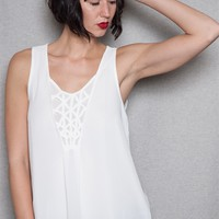 CY USA Lattice Insert Sleeveless Tunic Tank Top - White