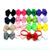 """Janecrafts 3"""" Girls Baby Boutique Grosgrain Ribbon Hair Bow Clip Headband Mix 16 Colors"""