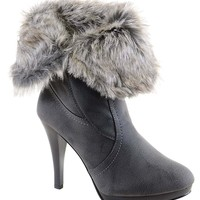 Grey Fold Over Faux Leather Fur Lined Heel Ankle Warm Women's Boots