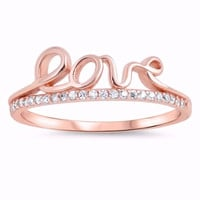 Silver Rose-Gold Tone Plated CZ Simulated Diamond Crown Tiara of Love Ring