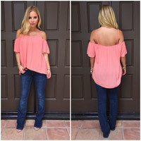 Pipe Down Off Shoulder Blouse In Coral