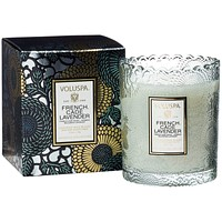 VOLUSPA French Cade Lavender EMBOSSED GLASS SCALLOPED EDGE CANDLE
