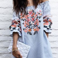 Fashion Off Shoulder Long Sleeve Flower Print Frills Mini Dress