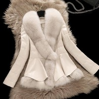 2018 New Winter Parka Real Fox Fur Coat W Short Style Clothing Large Collar Sheepskin Genuine Leather Down Outerwear Jacket