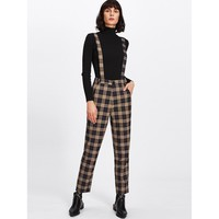 Plaid Tapered Pants With Strap