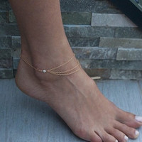 Diamond Turquoise Tassel Chain Anklet (Size: 1, Color: Gold) = 1839013764