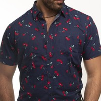 Navy Blue With Red Cherry Print Short Sleeve Shirt