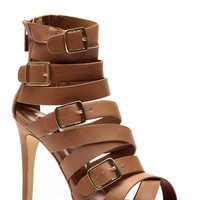 Dollhouse Tan Cross Strap Buckled Heels
