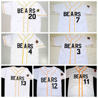 The Bad News Bears Button Down #3 Kelly Leak Jersey #12 Tanner Boyle Jersey #4 #7 #11 #20 #13 #14 #17 White Movie Cheap Baseball Jersey