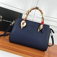 prada women leather shoulder bags satchel tote bag handbag shopping leather tote crossbody 385