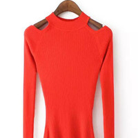 Long Sleeve Cold Shoulder Knit Sweater