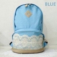 Efreecity Girl's Lace Canvas Backpack Schoolbag