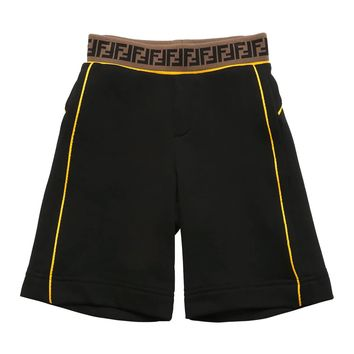 Boys Black FF Logo Sweatshorts
