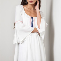 Bell Sleeve Embroidered Dress - White