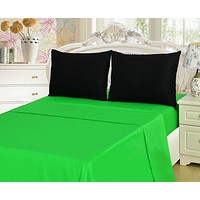 Tache Cotton Lime Green and Black Bed sheet Set (BS4PC-BG)