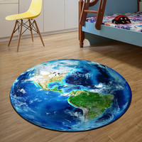 3D Earth Round Mat 80/100/120/160CM alfombras dormitorio Carpet Living Room Deurmat Dier rugs Swivel chair Mats tapis chambre