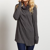 Charcoal-Solid-Knit-Cowl-Neck-Long-Sleeve-Top