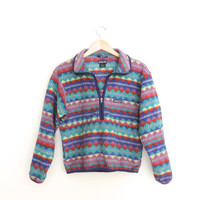 Vintage Patagonia Tribal Fleece Pullover Size Kids 14 Adult SMALL