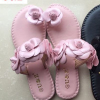 Female fashion Summer soft flats sandals Camellia Flower Sweet Flip Flops,Real leather beautiful flower Slippers for woman shoes