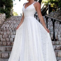 Fashion Women Lace Formal Dress New Backless Suspenders Evening Ball Prom Sexy Dresses Sleeveless White Wedding Party Long Dress