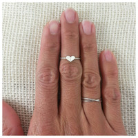 dainty sterling silver heart midi ring on twisted by JCLDesigns