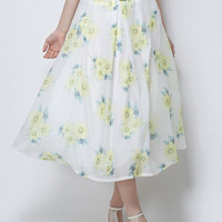 White Floral Leaves Print Ruched High Waisted Skirt And Belt