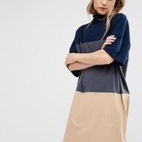 Paisie Turtleneck Jersey Dress With Three Wide Stipes