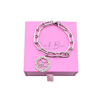 Pink Box Women's Inspirational Adjustable Oval Link Bracelet