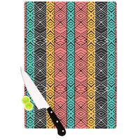 """Pom Graphic Design """"Artisian"""" Pink Teal Cutting Board"""