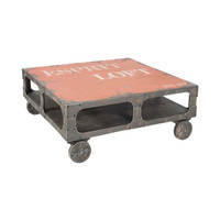 Lively Rustic Coffee Table on Casters in Orange