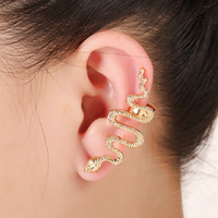 New Fashion Women Statement Steampunk Trendy Jewelry Gold Plated 3D Gothic Snake Animal Ear Cuff Clip On Earrings