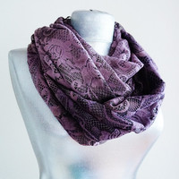 Handmade Floral Lace Infinity Scarf - Summer Lace Scarf - Damson Purple