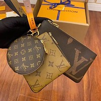 LV Louis Vuitton Trendy Hot Sale Printed Letter Retro Three-piece Key Case Wallet Bag