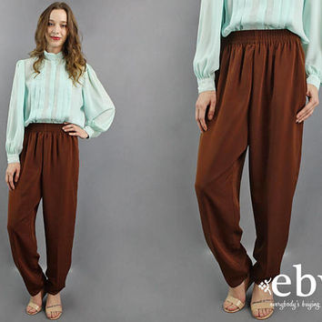 Brown Pants Brown Trousers High Waisted Pants High Waisted Trousers 90s Pants 90s Trousers High Waist Pants High Waist Trousers S M L