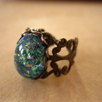 Blue And Green Fire Opal Ring Antique Brass by lusciouslockets