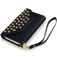 Samsung Galaxy S4 i9500 Trendy Studded Rock Chic Purse Style Wallet Case - Black By Covert
