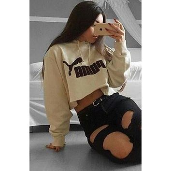 PUMA Casual Long Sleeve Hooded Crop Top Sweater Pullover Hoodie