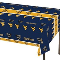 """Creative Converting West Virginia Mountaineers Plastic Table Cover, 54""""x 108"""""""
