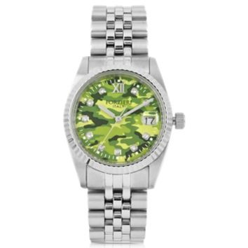 Forzieri Designer Women's Watches Trevi Silver Tone Stainless Steel Women's Watch w/Green Camo Dial