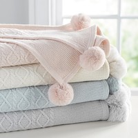 Monique Lhuillier Cable Knit Pom Pom Baby Blanket