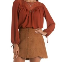 Rust Long Sleeve Crochet & Chiffon Top by Charlotte Russe