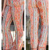 From Where I Stand Orange Printed Bell Bottoms