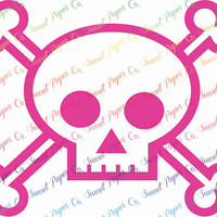 Skull and Crossbones Vinyl Decal. Sticker Available in Any Color or Size, Custom Shapes Available by Request