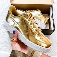 NIKE Air Force 1 Low Personality Metal Color Women Men Sport Running Shoes Sneakers Golden