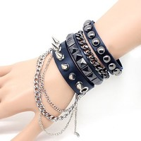 Cool Punk Rock Rivet Multi layer Spiked with Chain Suit Leather Wristband Bracelet Unisex Bangle